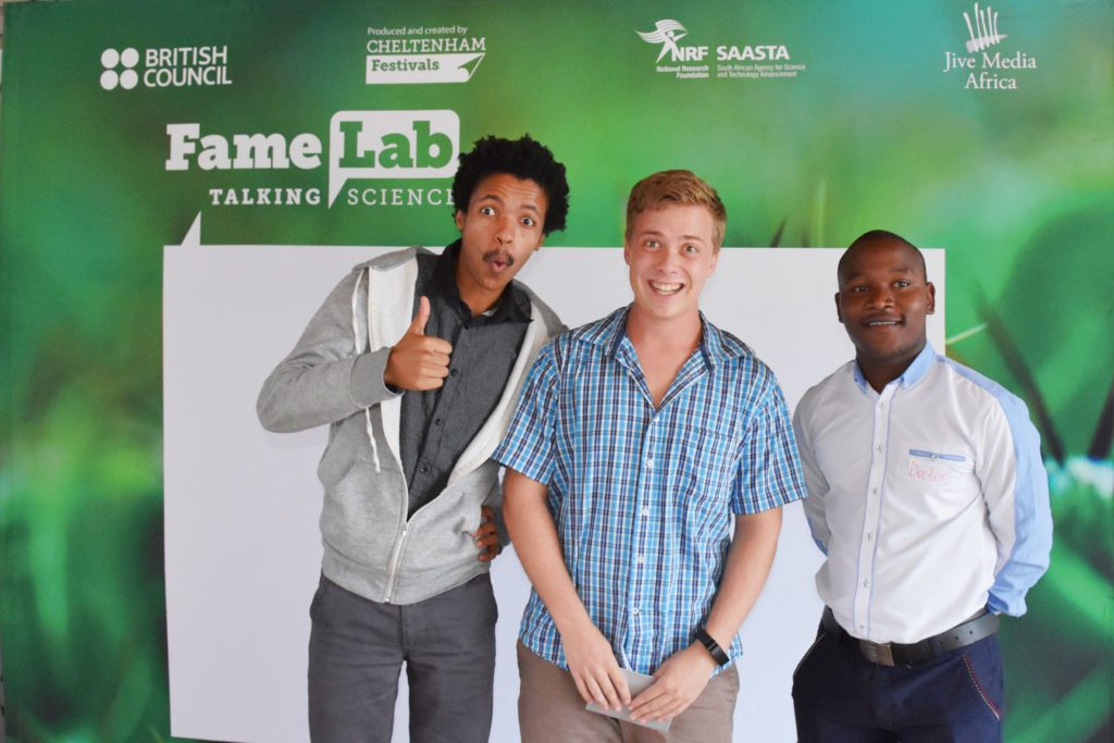 From left: 1st runner-up, Otto Joseph from Rhodes University; Winner, Wynand van Lesenoord and 2nd runner-up - Doctor Tshabalala from NMMU