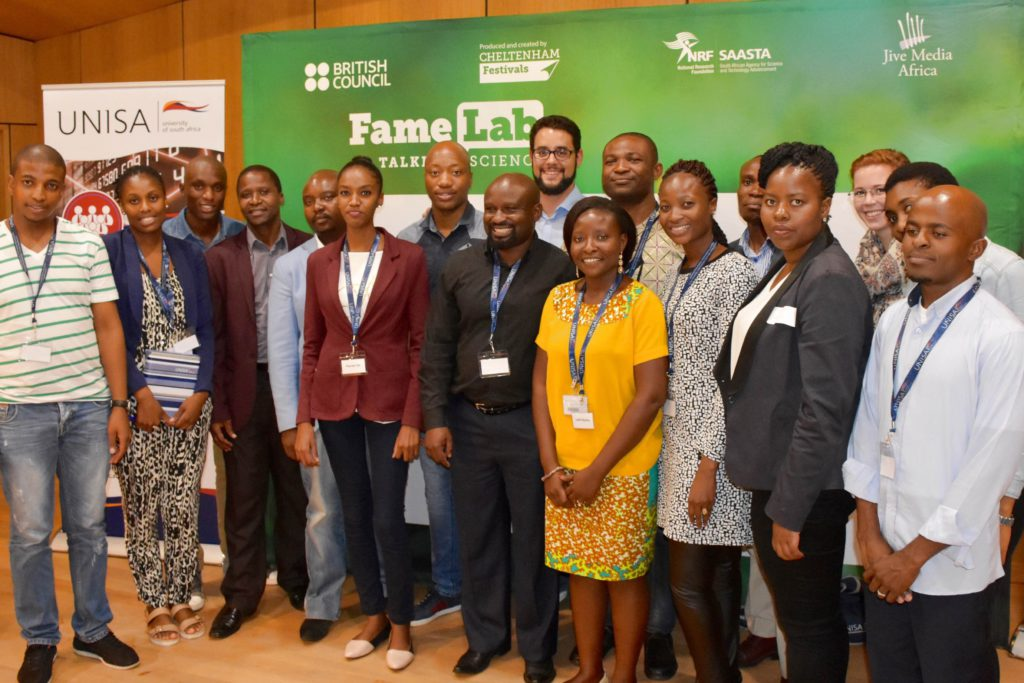 UNISA FameLab SA contestants with the judges – Dr. Mthuthuzeli Zamxaka from SAASTA and Professor Ndikho Mtshiselwa from UNISA