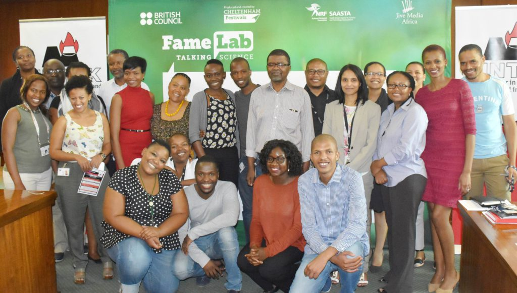 The FameLab SA contestants and judges from Mintek